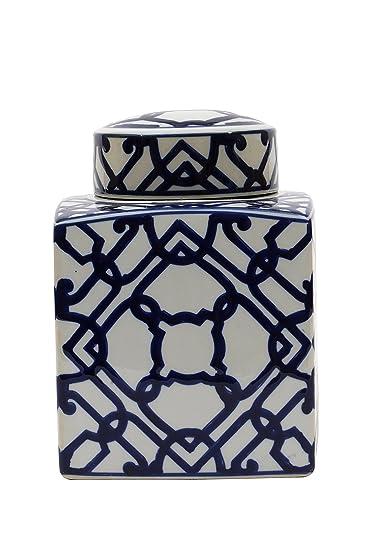 large square blue and white ceramic ginger jar with lid - Ginger Jars