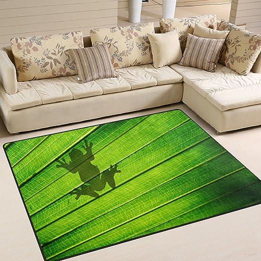 ALAZA Alfombra diseño de rana sentada en palmas verdes y ...