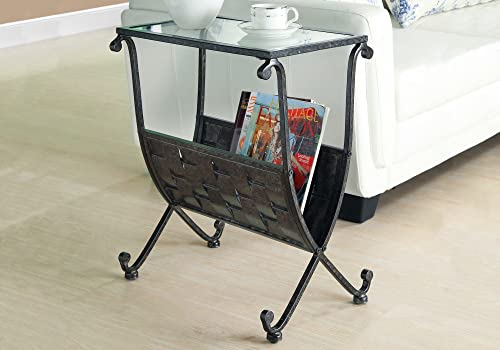 Monarch Specialties Metal Magazine Table with Tempered Glass, Black Taupe