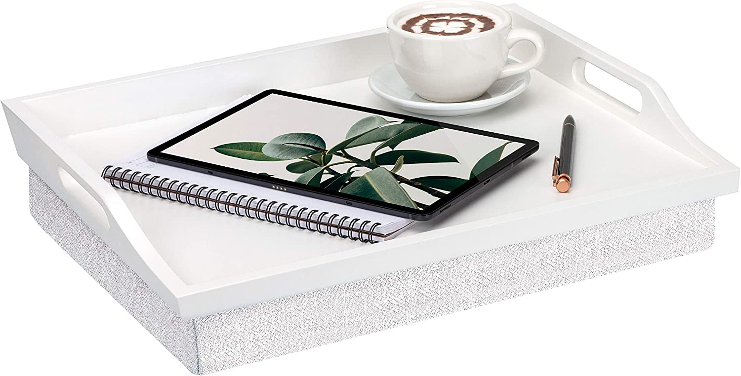 Rossie Home Lap Tray with Detachable Pillow, Serving Tray - Soft White - Style No. 76101