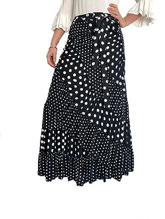 b8320afa0e Falda Media Luna Color Negro con Lunares Blancos para Baile Flamenco ...