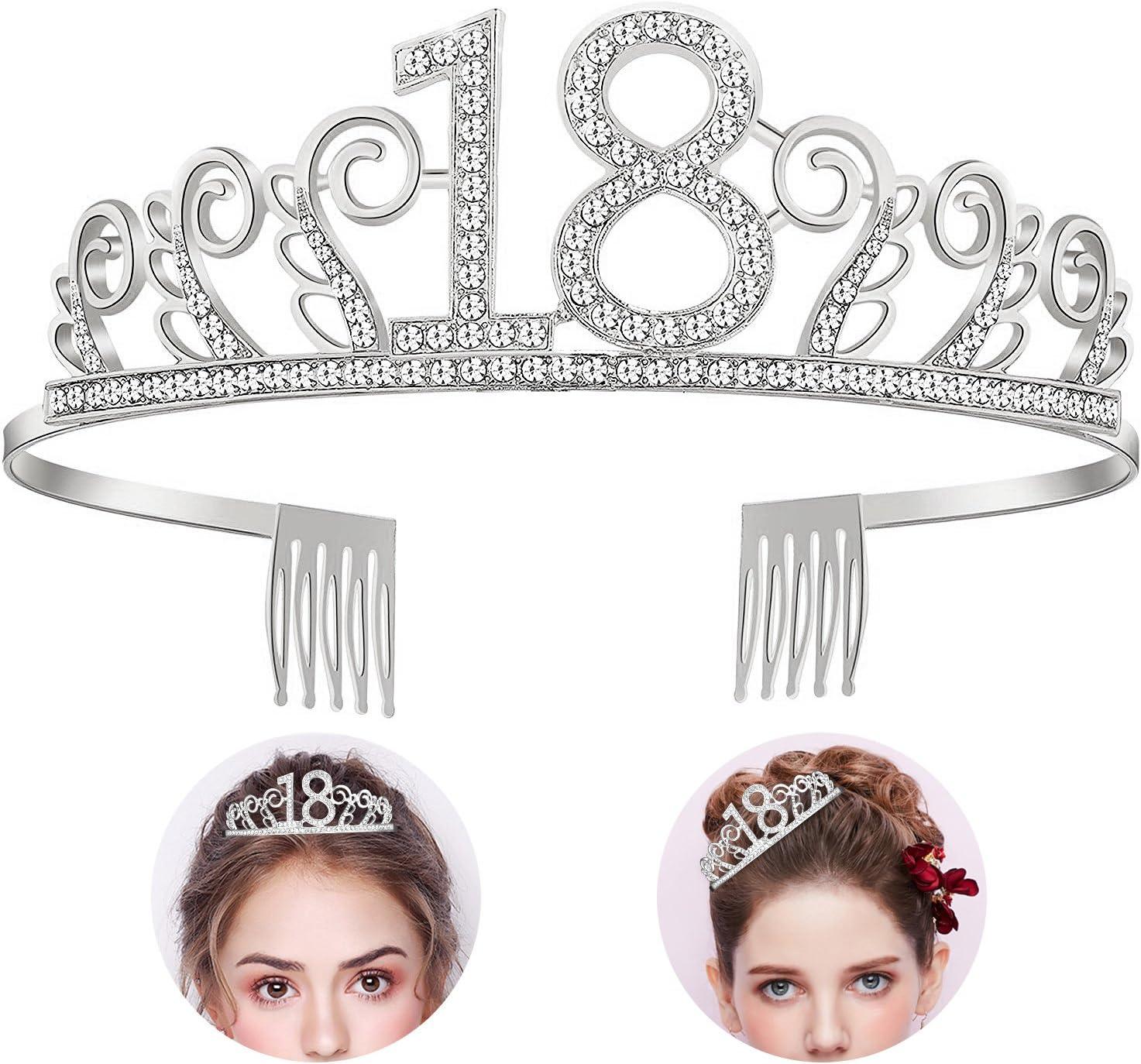 Feliz Cumpleaños 18TH, Diealles 18TH Plata Cristal Tiara Corona de Cumpleaños, Regalo de 18 Cumpleaños