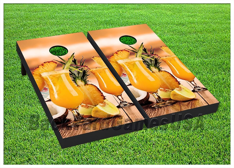 CornholeボードエキゾチックPina Colada Drink Beanbag Toss Game Wバッグセット323 B072FLVHGR