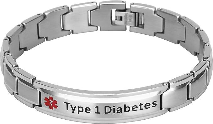 MENS TYPE ONE Diabetic medical alert bracelet stainless non tarnish tiger eye and onyx gemstones t1d medical alert type 1 diabetic bracelet