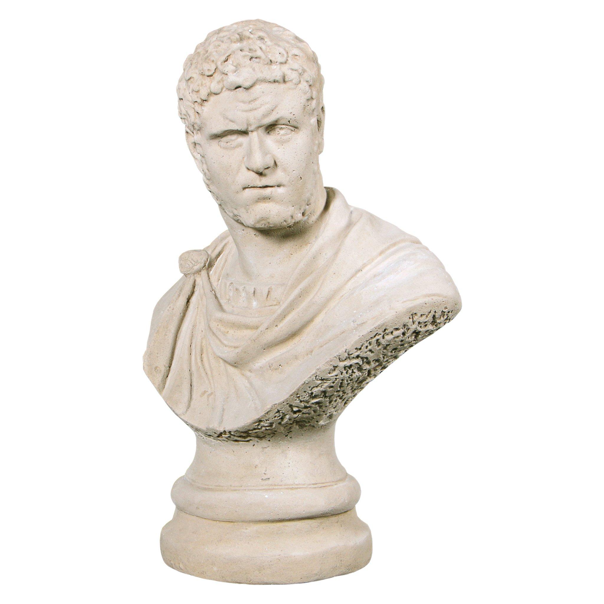 Design Toscano Caracalla, Roman Emperor Marcus Aurelius Sculptural Bust, Antique Stone