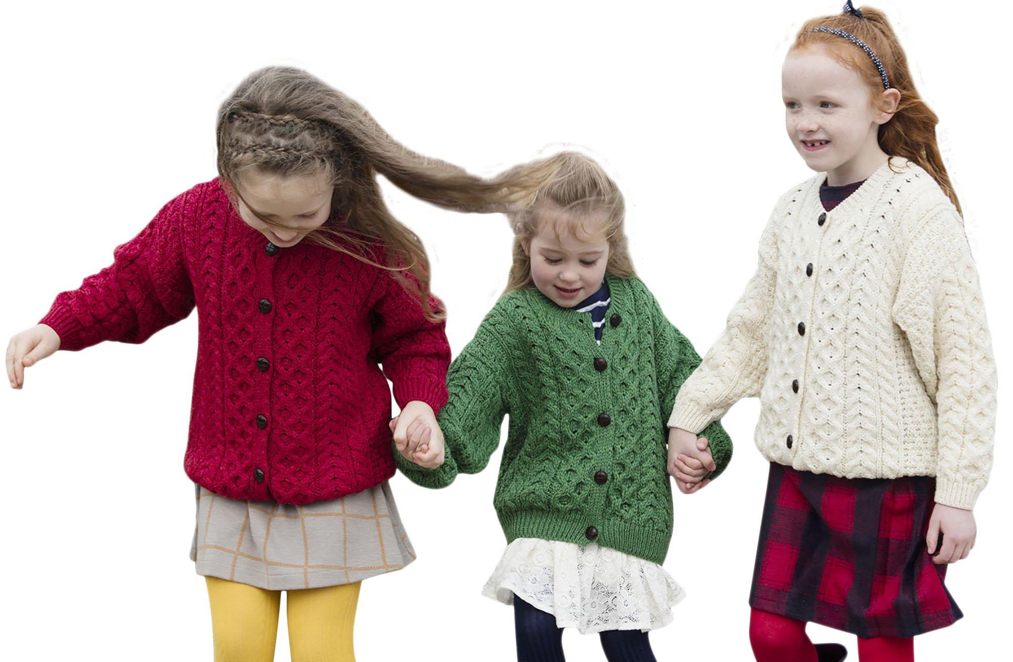 Child's Irish Aran Wool Lumber Cardigan Sweater (XLarge, Chillipepper Red)
