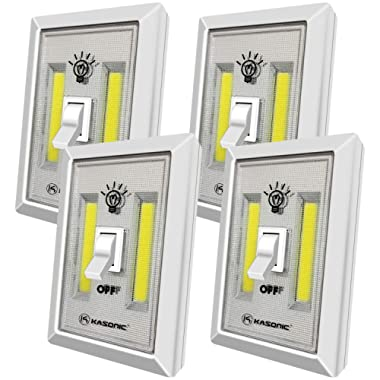 LED Night Light, Kasonic 200 Lumen Cordless COB LED Light Switch, Under Cabinet, Shelf, Closet, Garage, Kitchen, Stairwell and More, Battery Operated (4 Pack)