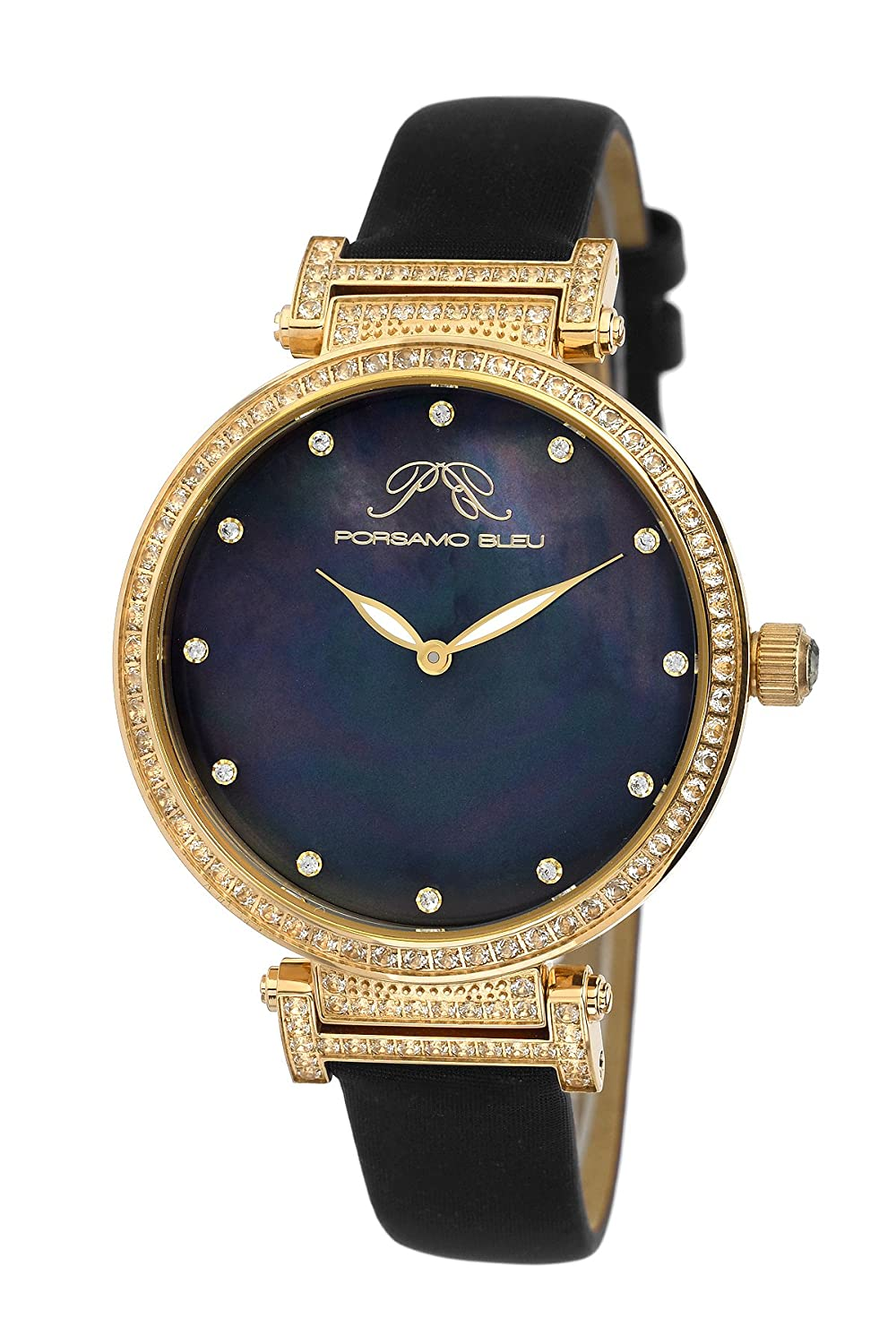 Porsamo Bleu Chantal Satin Covered Genuine Leather Women's Watch with White Topaz 673BCHL