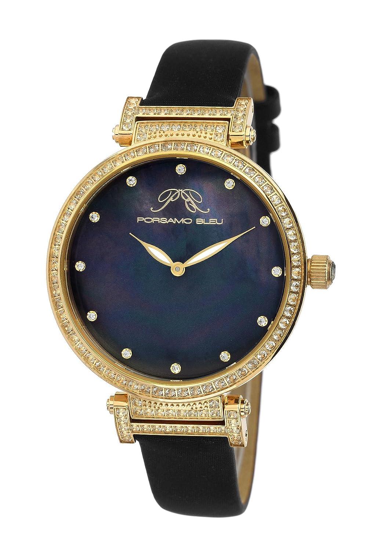 Porsamo Bleu Chantal Satin Covered Genuine Leather Women's Watch with White Topaz 673BCHL