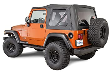Amazon.com: Whitco Replacement Soft Top With Tinted Rear Windows For  1997 2006 Jeep Wrangler TJ Without Upper Doors In Black Denim 35101215:  Automotive