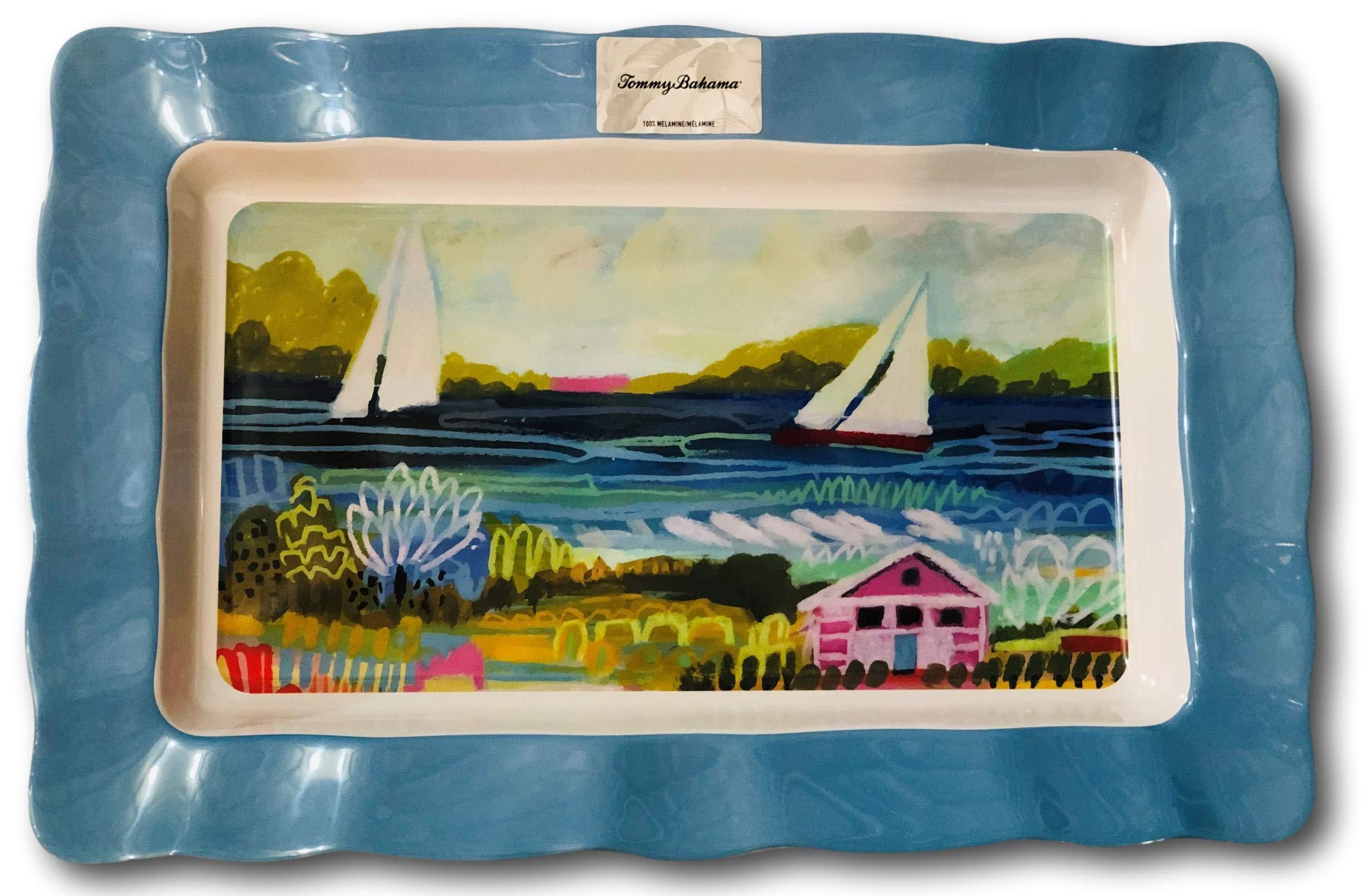 Tommy Bahama Melamine Large Serving Tray Platter Sailboat Coastal Seaside