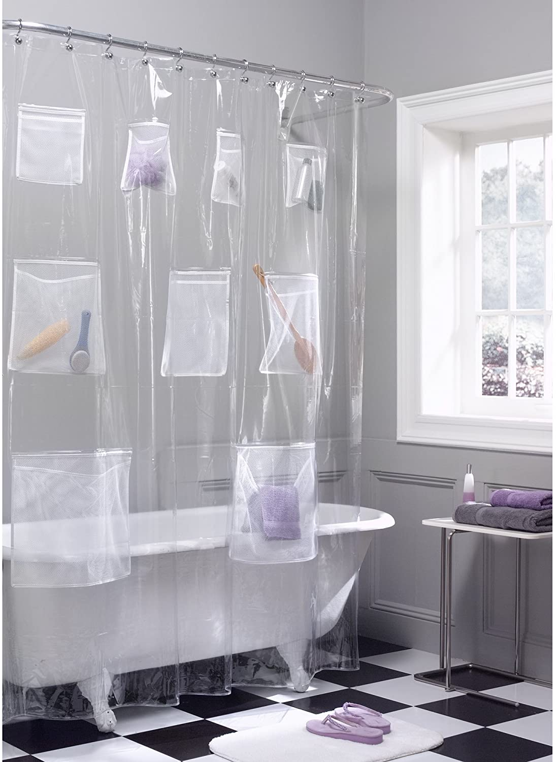 Amazon Com Maytex Quick Dry Mesh Pockets Waterproof Peva Shower Curtain Or Liner Bath Shower Organizer Clear 70 Inches X 72 Inches Home Kitchen