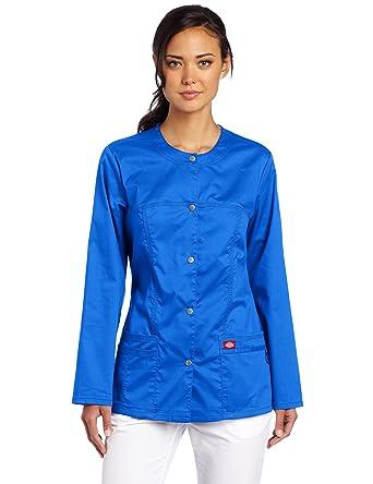 2fde348e3cd Dickies Women's Scrubs Gen Flex Junior Fit Contrast Warm Up, Royal, X-Small