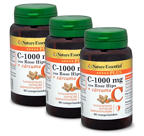 Vitamina C 1000 mg.+ Cúrcuma Nature Essential Plus – Con Vitamina C microencapsulada,