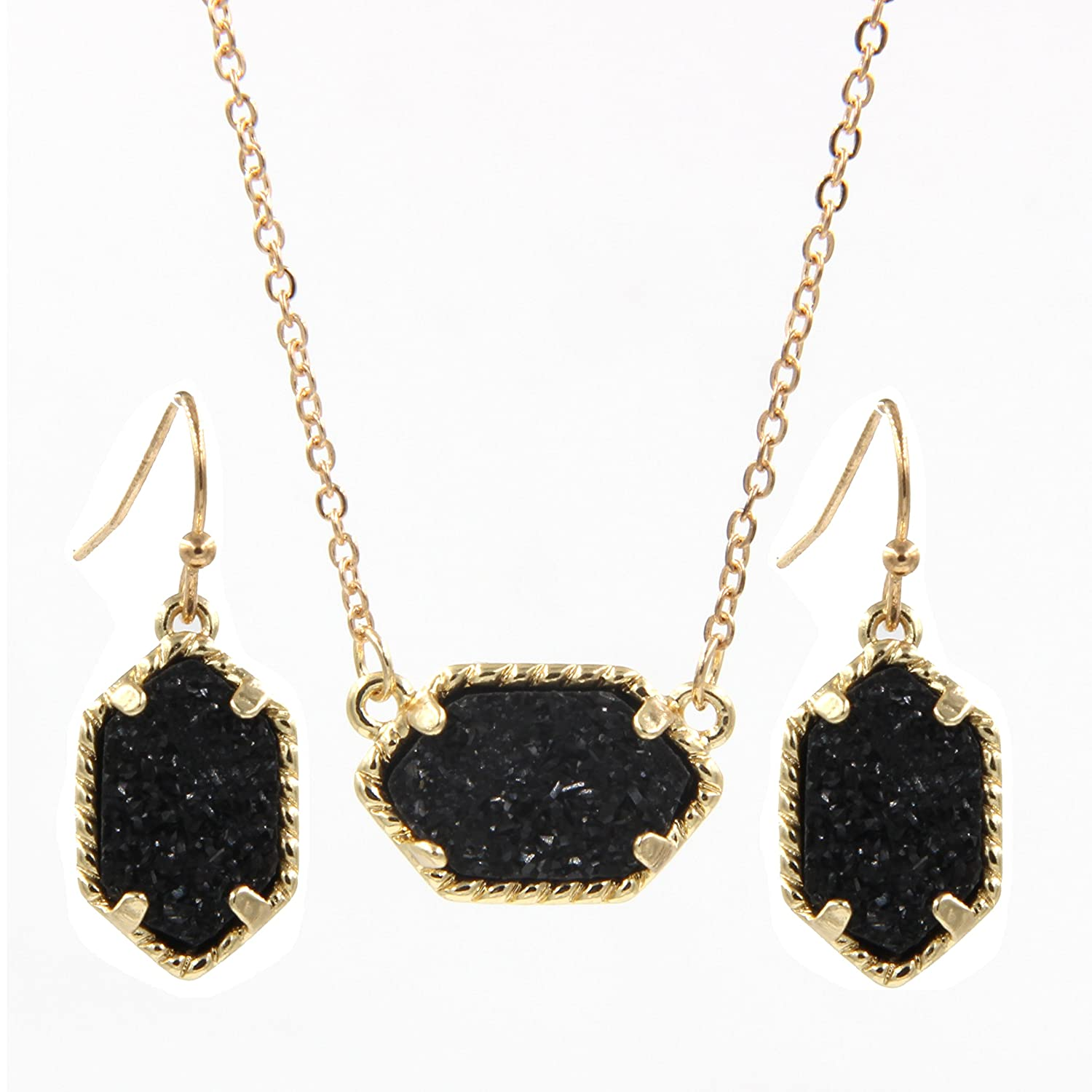 Fashion Jewelry Druzy Necklace Iridescent Green Square Druzy Pendant And Crystal Earrings Set