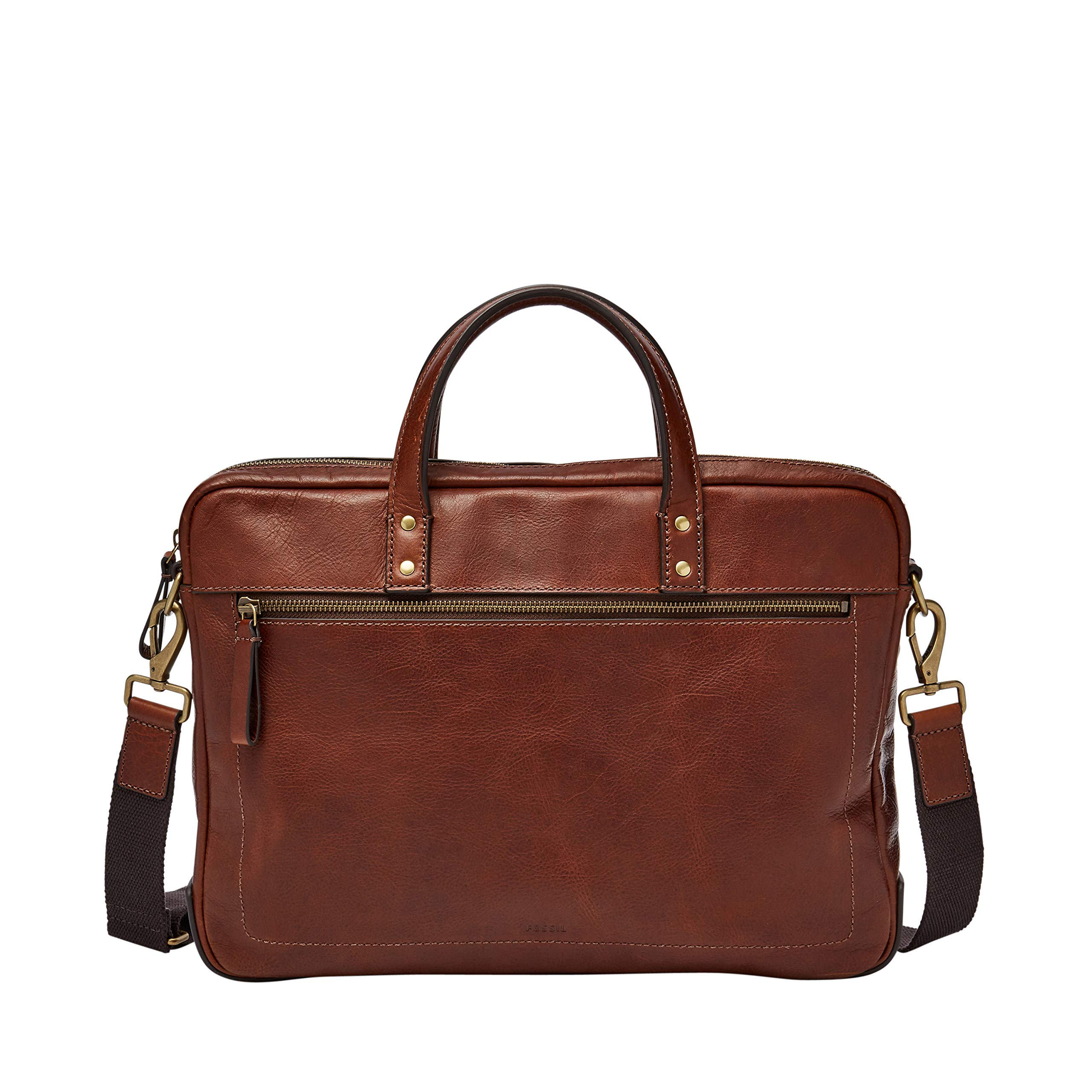 Fossil Mens Haskell Single Zip Workbag Cognac by Fossil