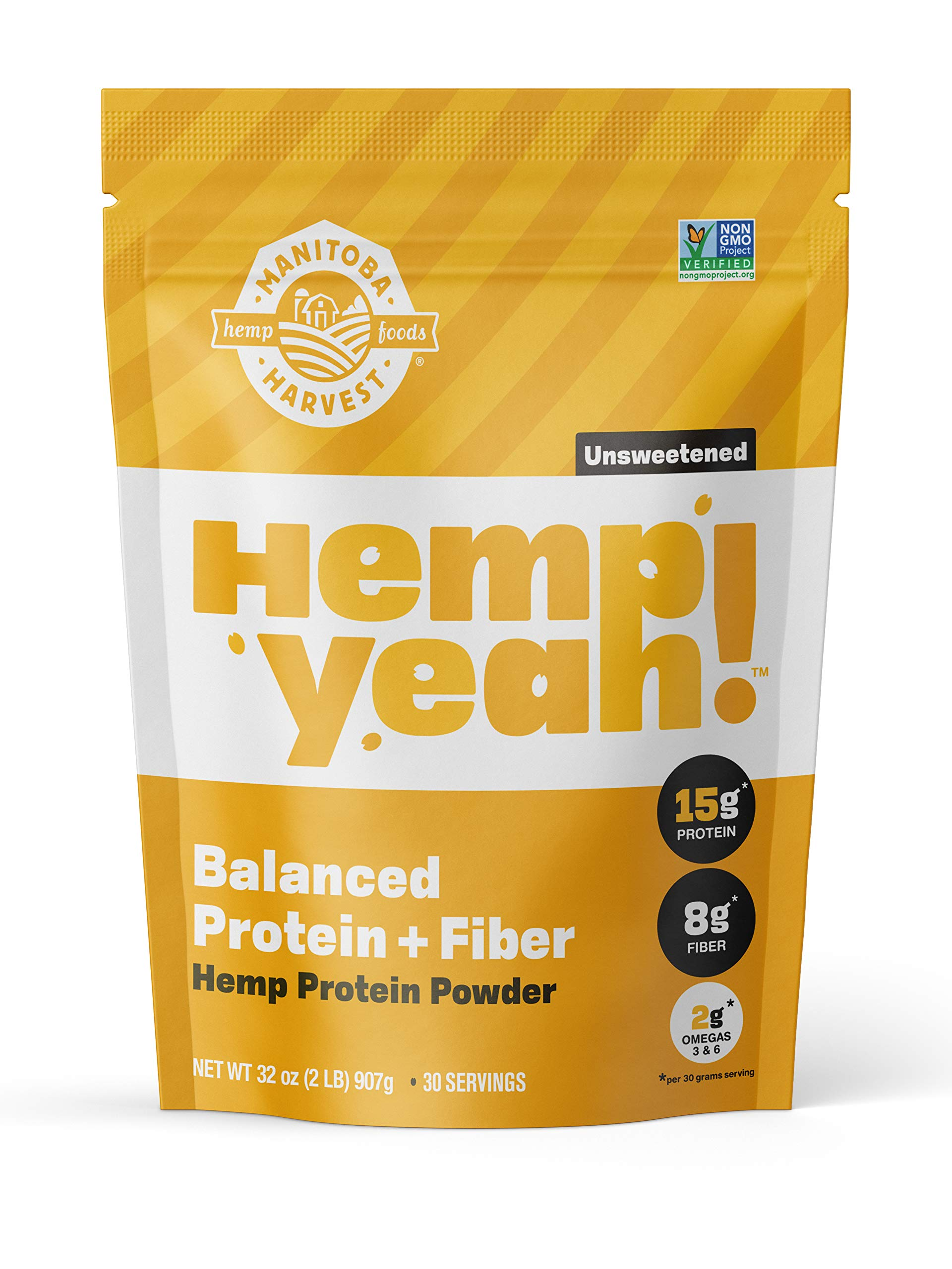 Manitoba Harvest Hemp Yeah! Balanced Protein + Fiber Powder, Unsweetened, 32oz, with 15g protein, 8g Fiber and 2g Omegas 3&6 per Serving, Keto-Friendly, Preservative Free, Non-GMO by Manitoba Harvest