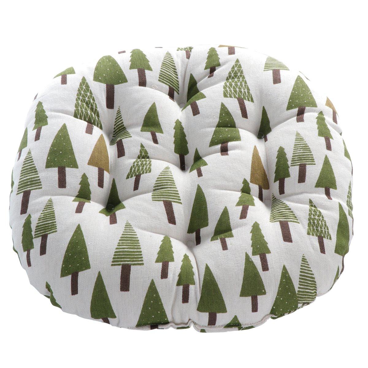 WINOMO Round Floor Pillow Cushion Cotton Linen Pouf Seat Cushion Yoga Window Tatami Home Office Pad (Trees Pattern)