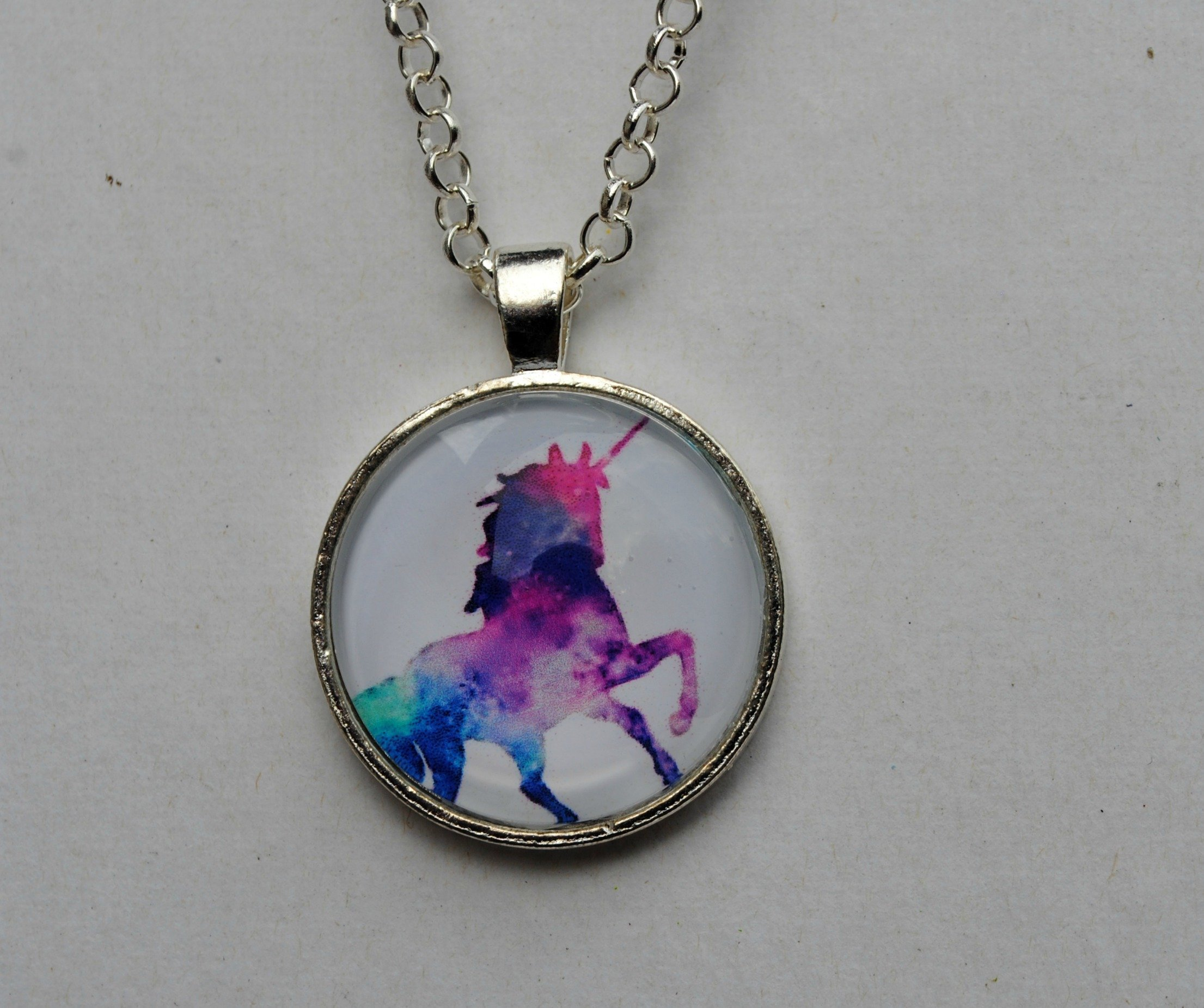 Magical Rainbow Unicorn Glass Dome Circle Pendant Necklace 24 Inch Chain Jewelry 4