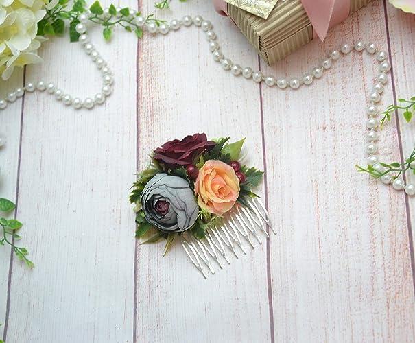 5f3a4b3d8f31f Amazon.com: Flower comb Bridal comb Burgundy Wedding Flower girl ...