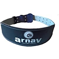 "arnav Weight Lifting Gym Belt for Light and Heavy Exercise with Steel Roller Buckle Foam Padded Split Leather Black 4"" Back"