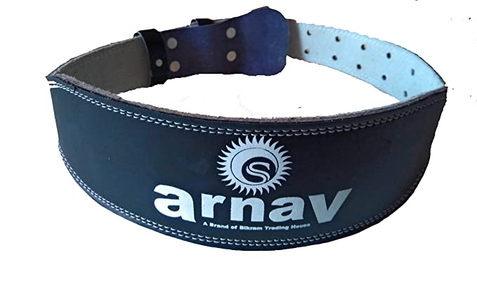 arnav Weight Lifting Gym Belt for Light and Heavy Exercise with Steel Roller Buckle Foam Padded Split Leather Black 4