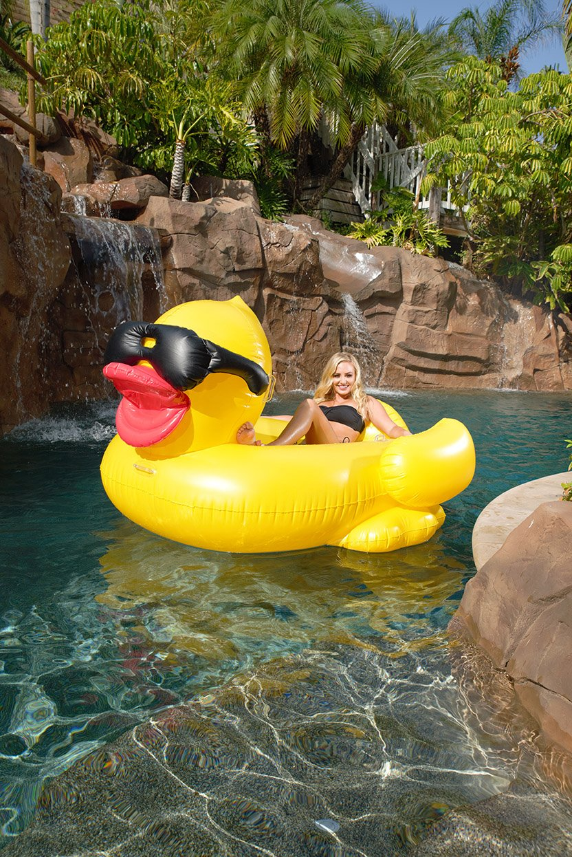Game Derby Duck Inflatable Swimming Pool Float With Cup Holders And Handles For Ebay