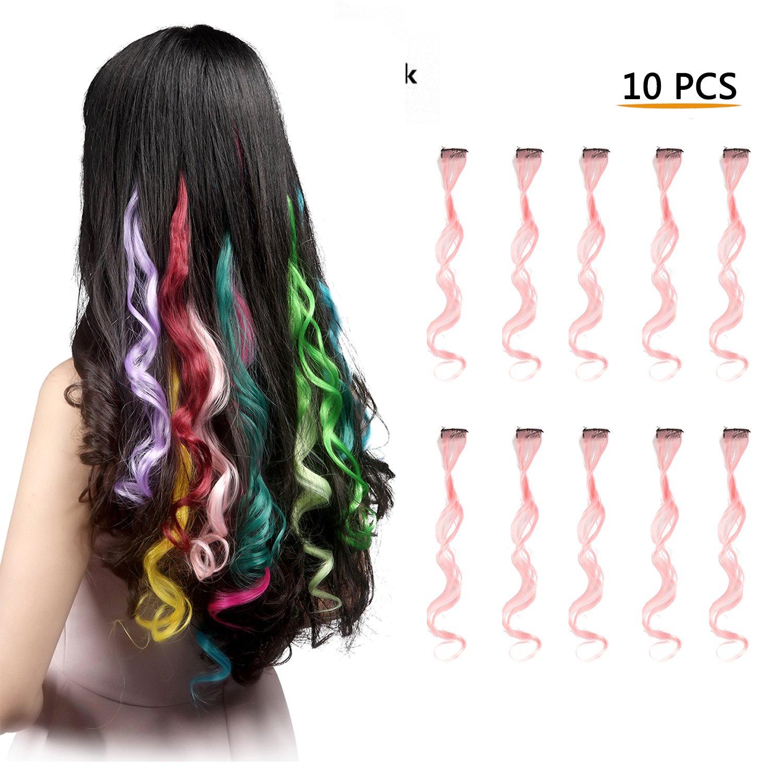 Amazon Feshfen 10 Pcs Light Purple Curly Wave Clip On In Hair
