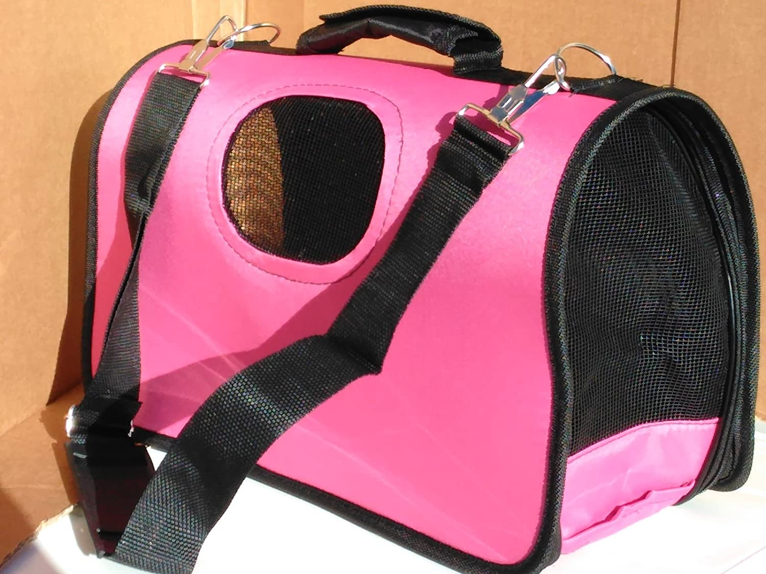Ooh-La-La Pet Carry Bags - Water Resistant and Breatheable Fabric, Pink Colour (Small) Anzai Pets