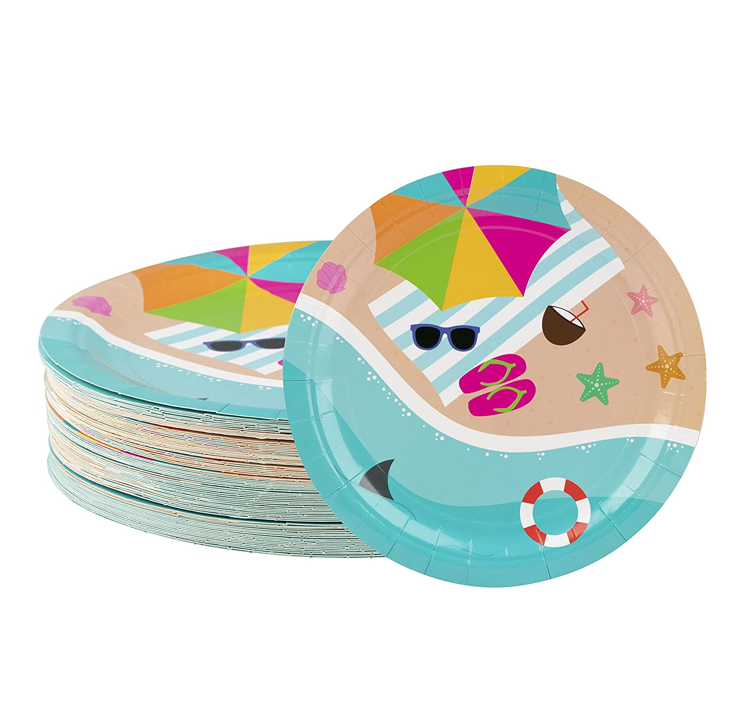 Disposable Plates - 80-Count Paper Plates, Summer Beach Party Supplies for Appetizer, Lunch, Dinner, and Dessert, Kids Birthdays, 9 x 9 inches