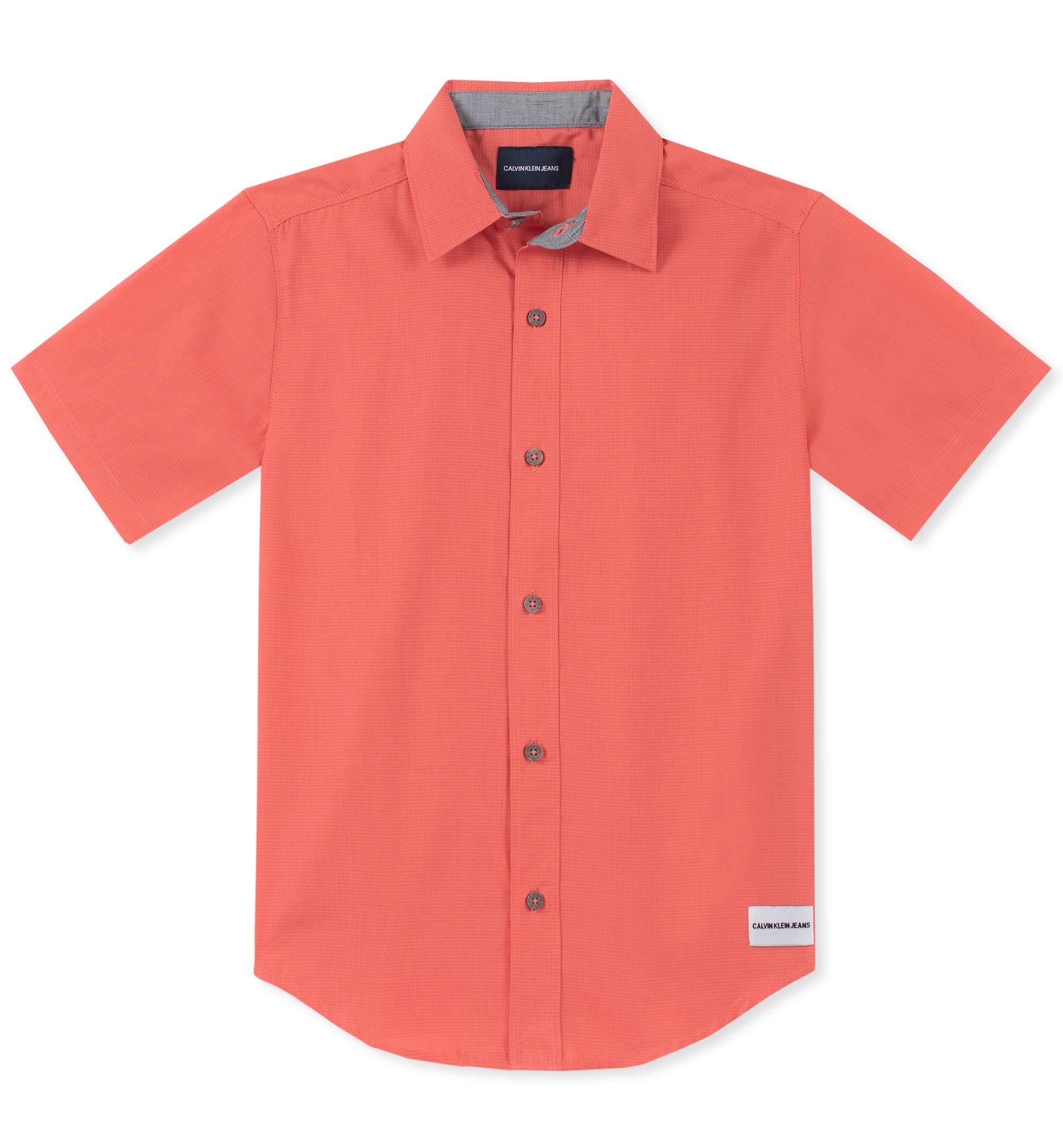 Calvin Klein Boys' Big Horizontal Chambray Short Sleeve Shirt, Coral, Medium (10/12)