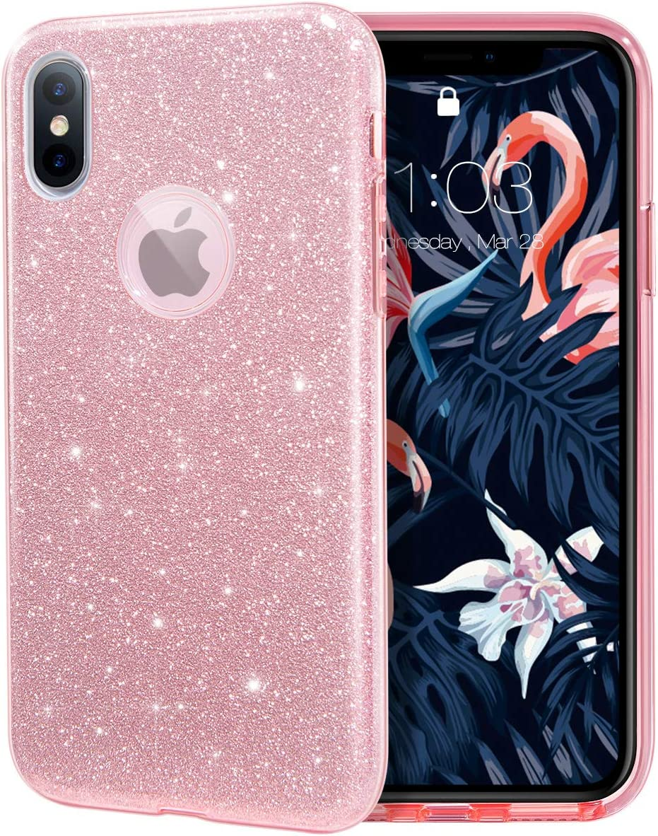 """MILPROX Glitter case for iPhone Xs iPhone X 5.8"""", Shiny Sparkle Bling, 3 Layer Hybrid Protective Soft Case - Pink"""