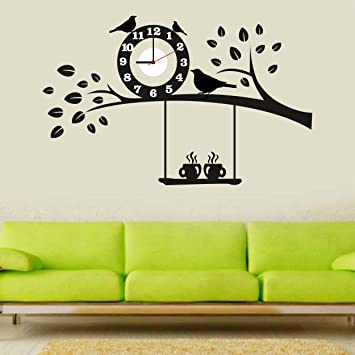 Buy Syga Black Tree and Bird PVC Vinyl Wall Clock 35 cm x 17 cm x