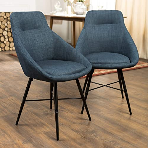 Walker Edison Mid Century Modern Upholstered Fabric Dining Room Chair