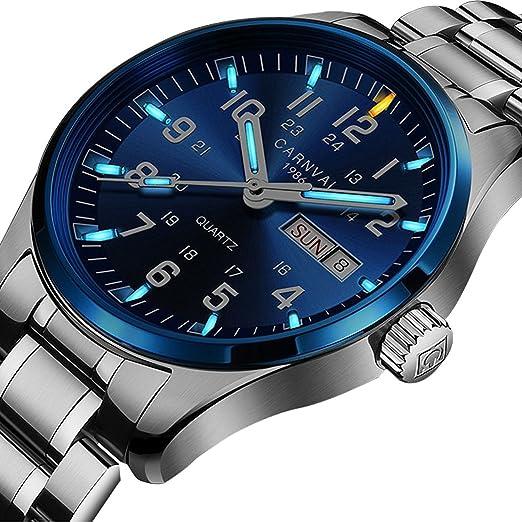 Reloj de cuarzo analógico de la marca suiza con gas tritium luminoso de plata y acero inoxidable, reloj militar para hombres: Amazon.es: Relojes
