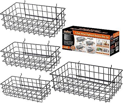 4Pack Pegboard Baskets Bins Set 4 Size Black Metal  Slatwall Grid Organize Tools