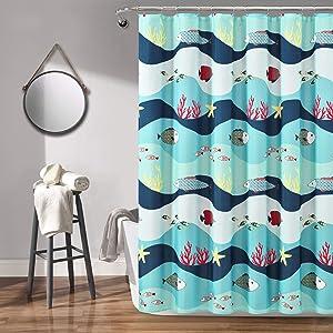 Lush Decor Blue 72 ' X 1 Sea Life Shower Curtain, 72