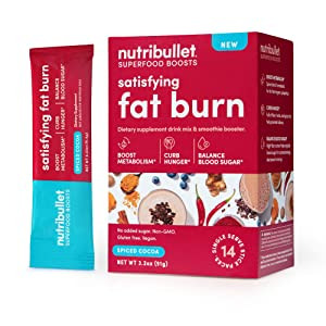 NutriBullet Superfood Boosts – Satisfying Fat Burn (with fiber, thermogenic spice blend & prebiotics to boost metabolism & curb hunger), Spiced Cocoa, 14 Stick Packs, Single Serve