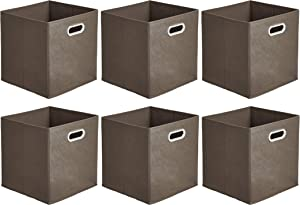 AmazonBasics Collapsible Fabric Storage Cubes with Oval Grommets - 6-Pack, Taupe