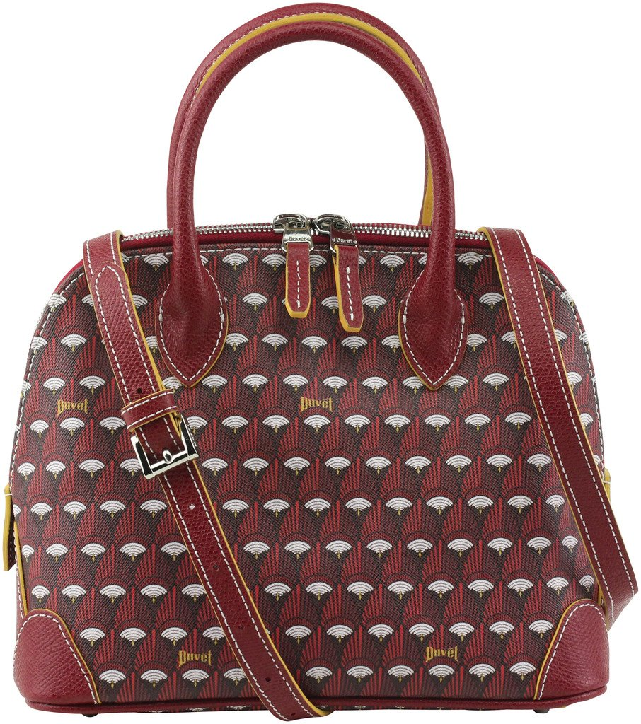 Duvetbag Women's Petite Remy Feather Round Tote Bag, Style D16PB007P, Red
