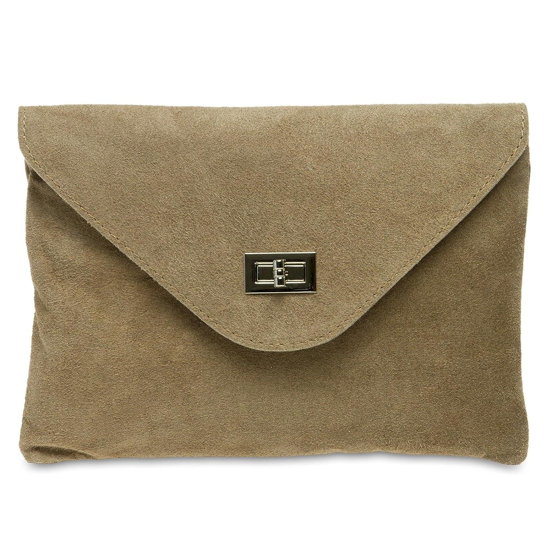 CASPAR TL719 Damen Leder Envelope Clutch Farbe:beige; Grö ß e:One Size 4251085280030