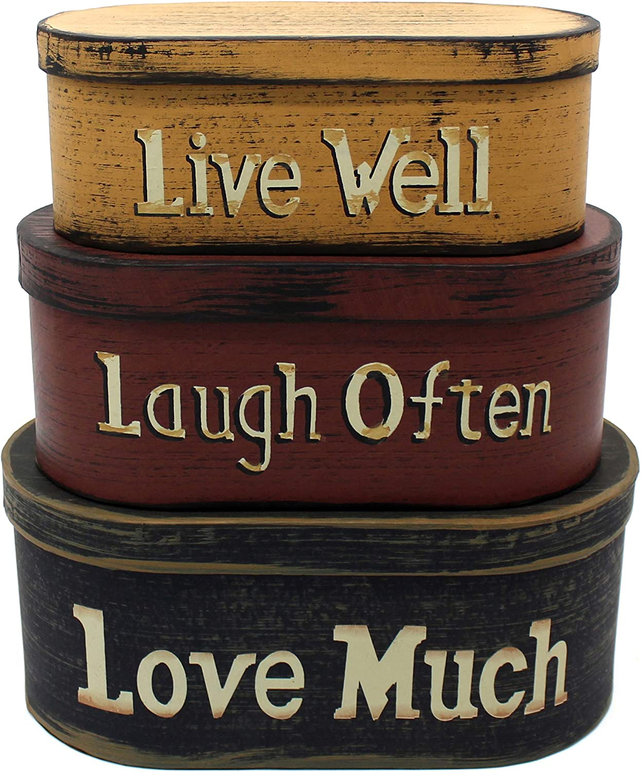 """CVHOMEDECO. Primitives Vintage Oval """"Live Well, Laugh Often, Love Much"""" Cardboard Nesting Boxes, Large 9-3/4 x 5-1/2 x 4 Inch, Set of 3."""
