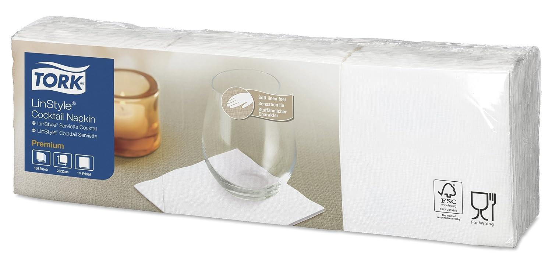 Tork 478152 Linstyle Tovagliolo Cocktail bianco Premium, monovelo, 10 pacchi x 150 tovaglioli (1500 pz), 23 cm (lungh.) x 23 cm (largh.)