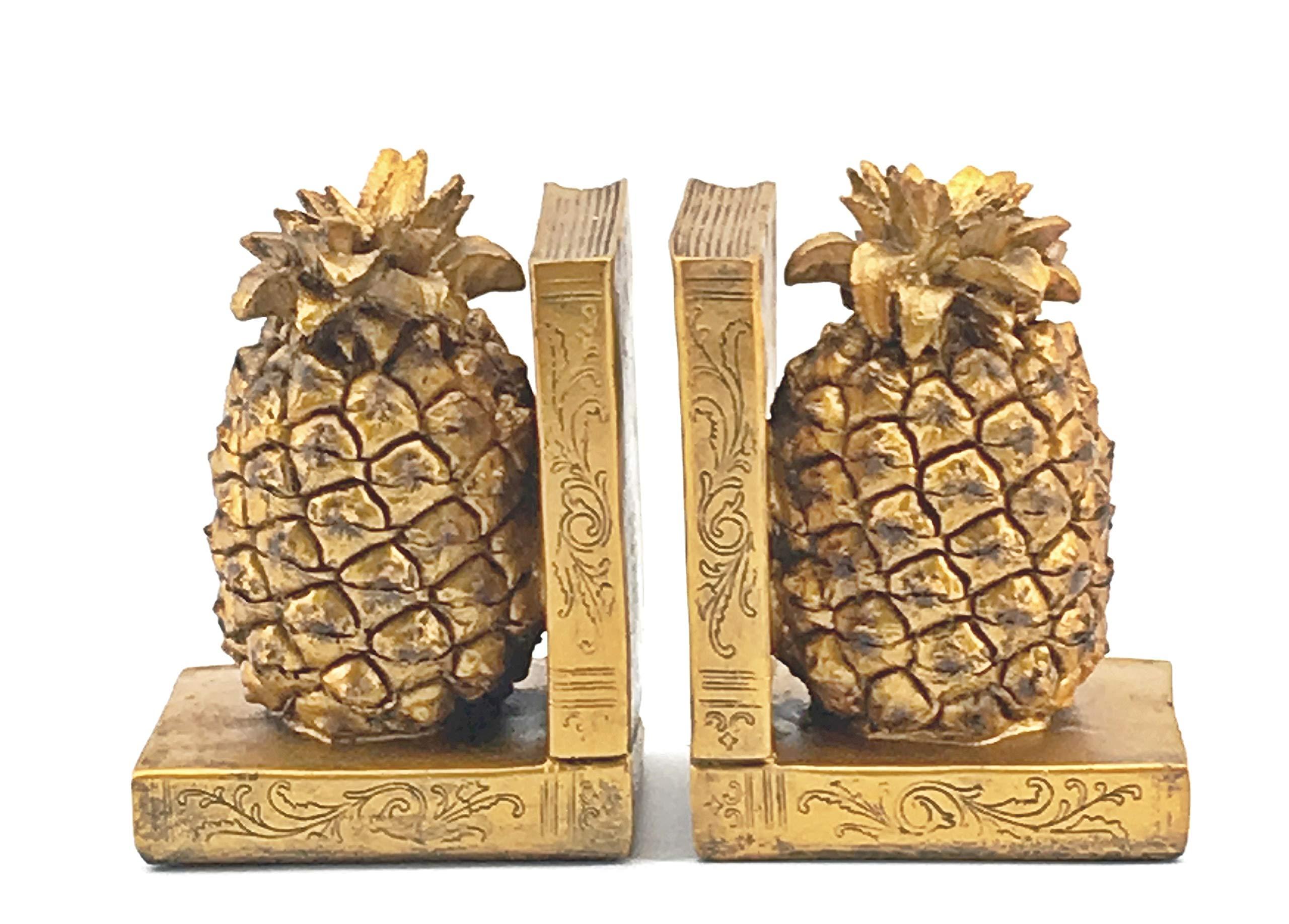 Bellaa 24162 Pineapple Bookends Golden Bookshelves Decor 6.5'' Tall