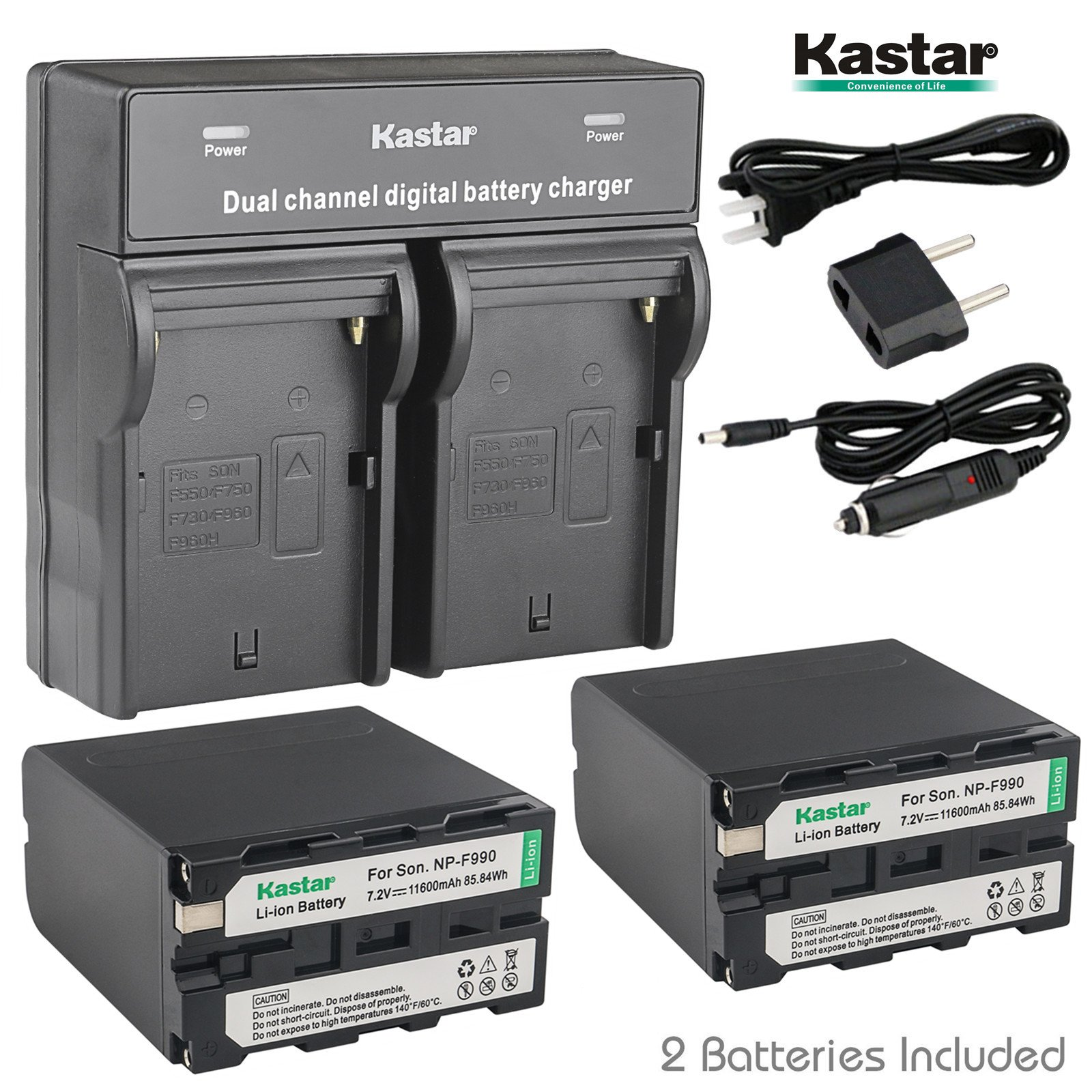 Kastar USB Dual Charger & NP-F990 Battery X2 7.2V 11600mAh for Sony NP-F975 NP-F970 NP-F960 NP-F950 NP-F930 NP-F770 NP-F750 NP-F730 NP-F570 NP-F550 NP-F530 NP-F330, Sony Camcorder and LED Video Light by Kastar