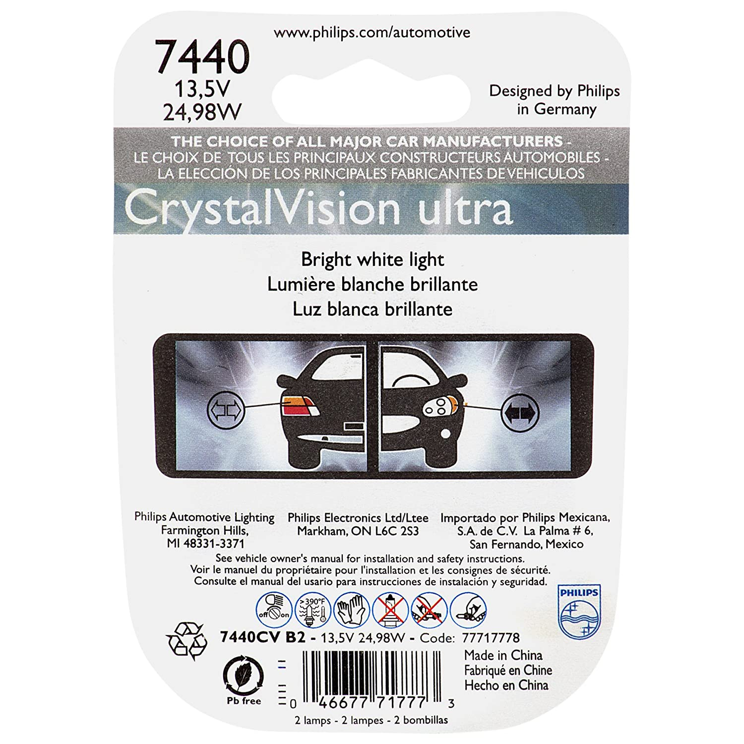 Amazon.com: Philips 7443CVB2 7443 CrystalVision Ultra Miniature Bulb, 2 Pack: Automotive