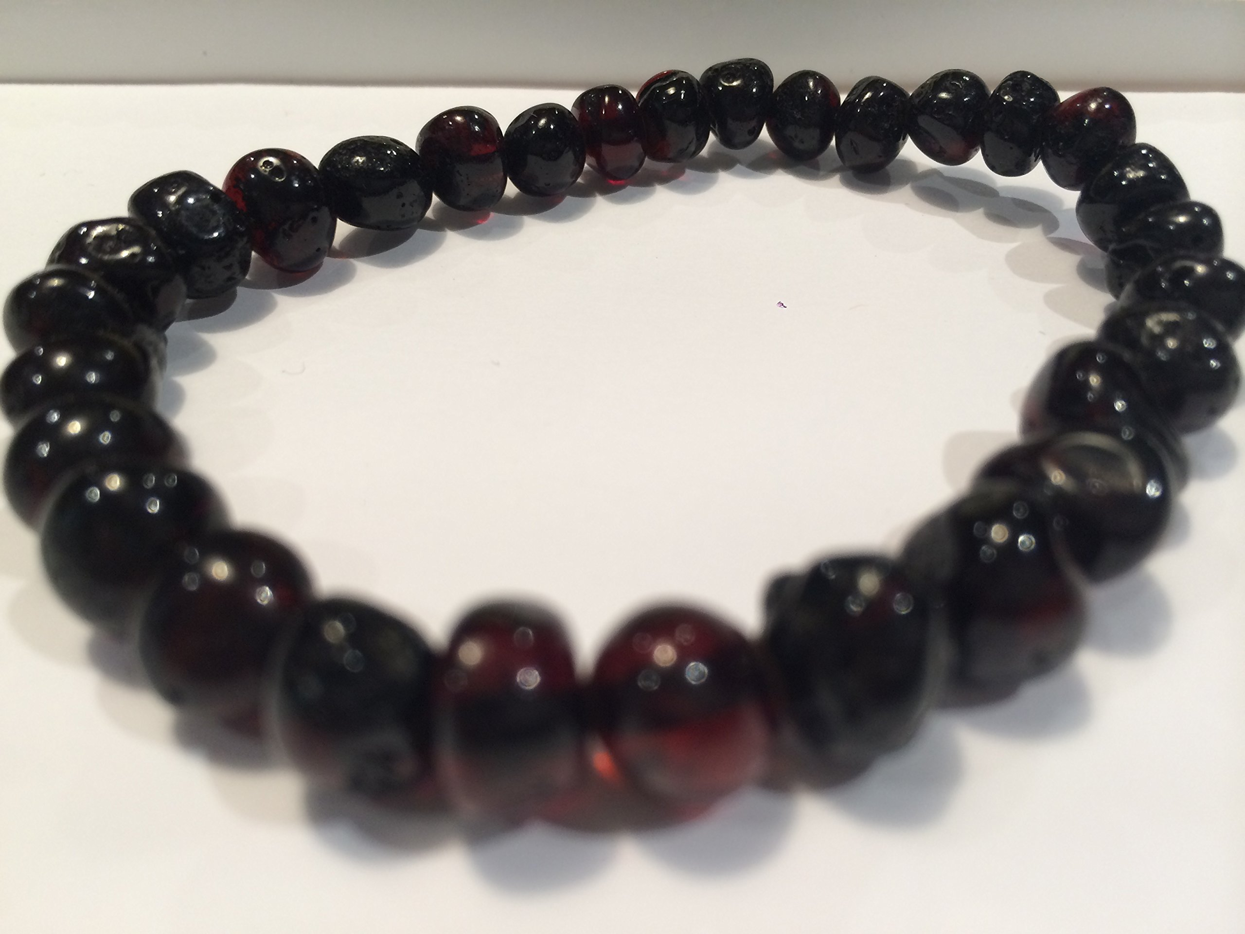Healing Bracelet 8 inch arthritis carpal tunnel swelling headache Baltic Amber for Adults Polished Black Cherry Stretch Woman Certified (1 Pack)