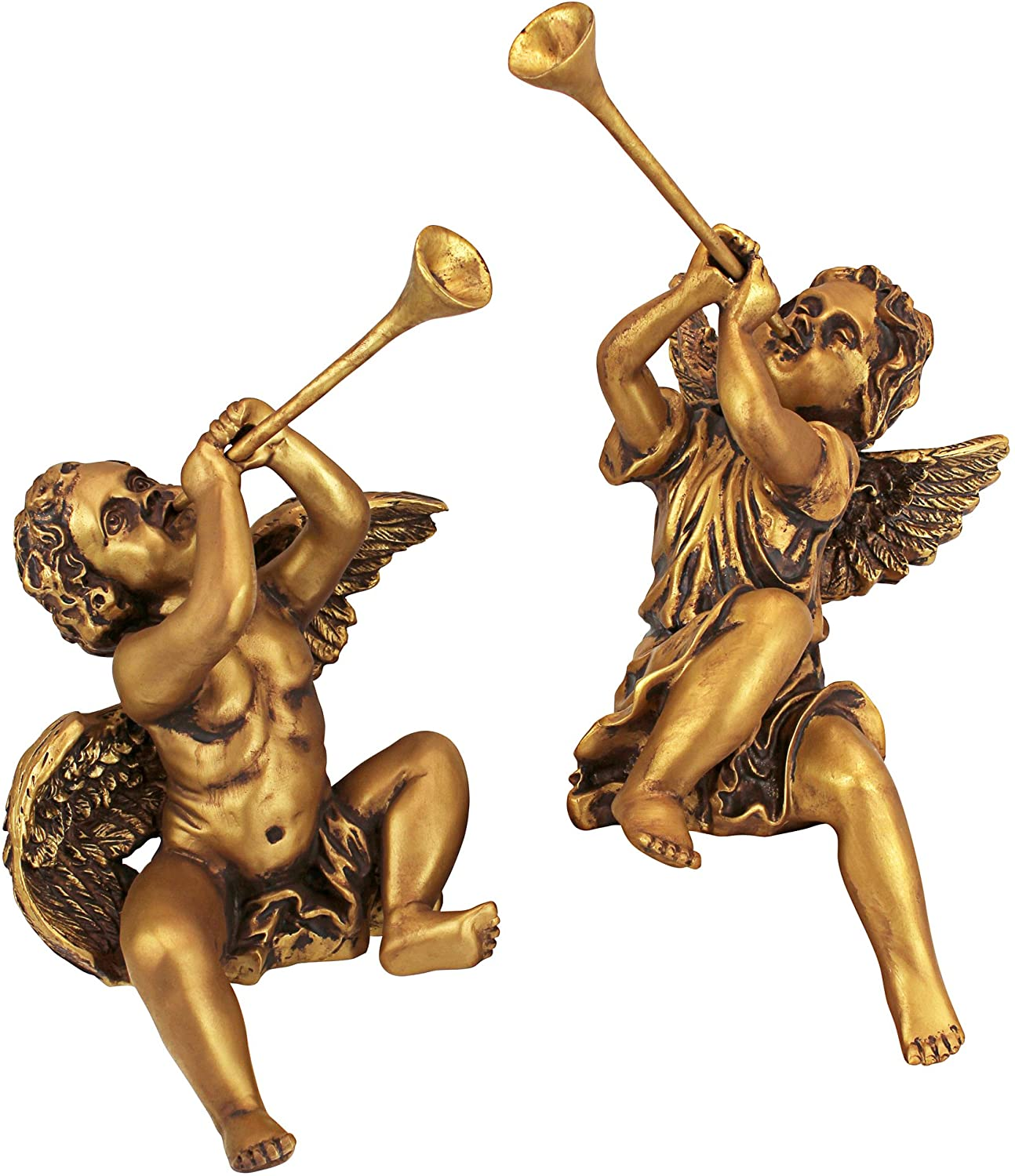 Design Toscano Christmas Decorations-Trumpeting Boy and Girl of St. Peters Square - Holiday Angel Statue, Gold