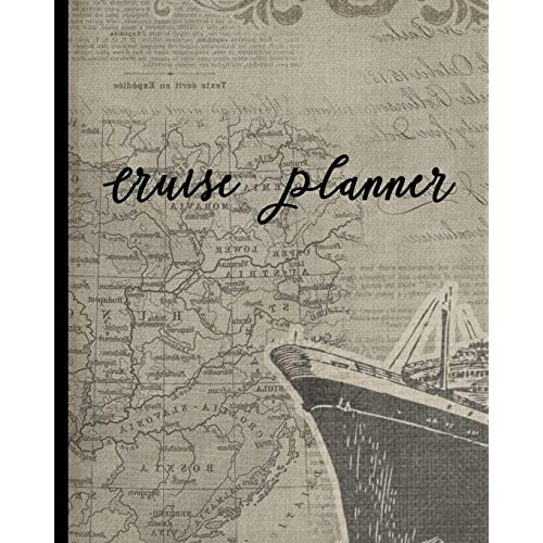 """Itinerary /& more * Antique Map 8/"""" x 10/"""" Trip Planner and Travel Journal: Vacation Planner /& Diary for 4 Trips with Checklists Softback Notebook * Large"""
