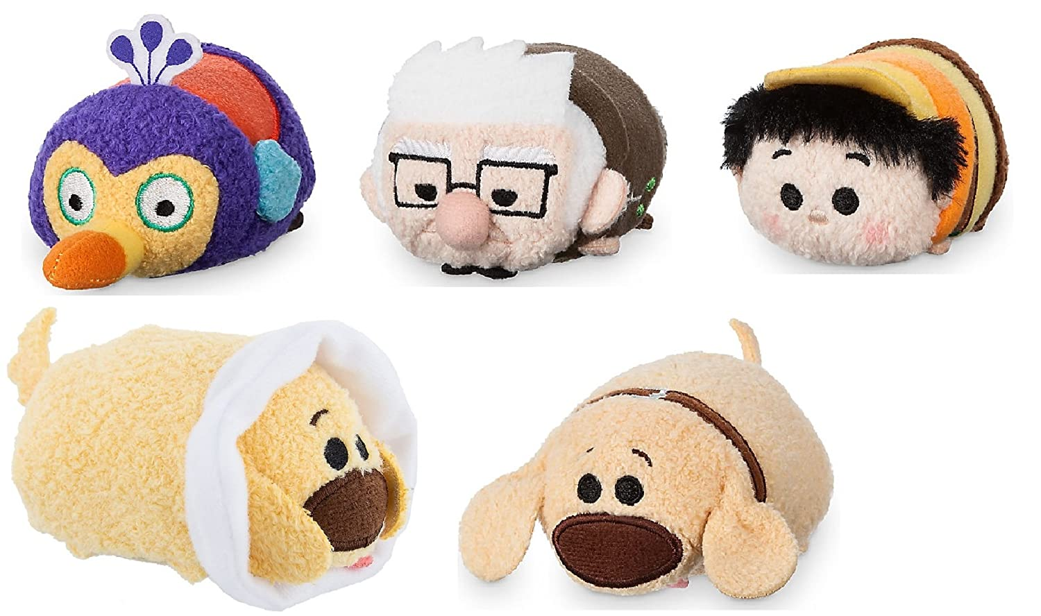 "Amazon.com: Disney Store Mini Tsum Tsum Up Set of 5 Stuffed Plush 3.5"" Toys Carl Russell Kevin Dug and Cone Dug: Toys & Games"